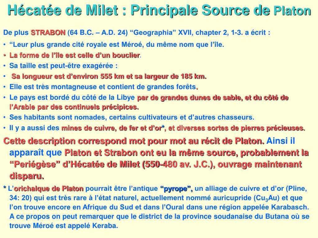 Hécatée de Milet : Principale Source de