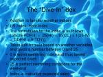the dive in dex