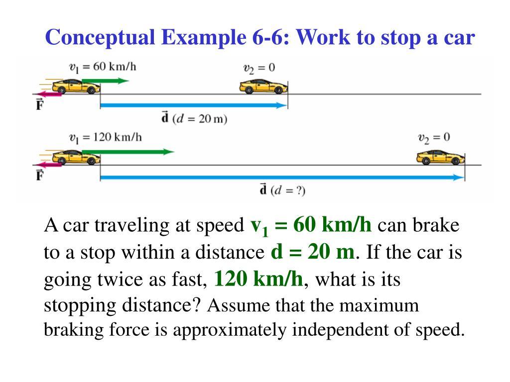 Conceptual Example 6-6: Work to stop a car