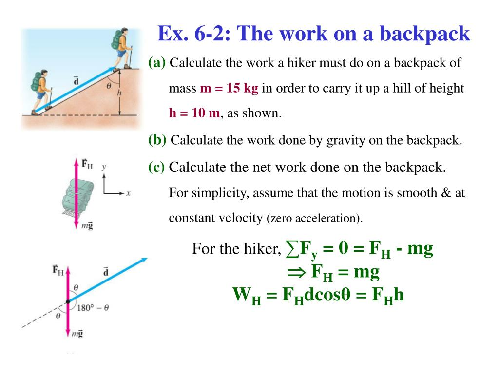 Ex. 6-2: The work on a backpack
