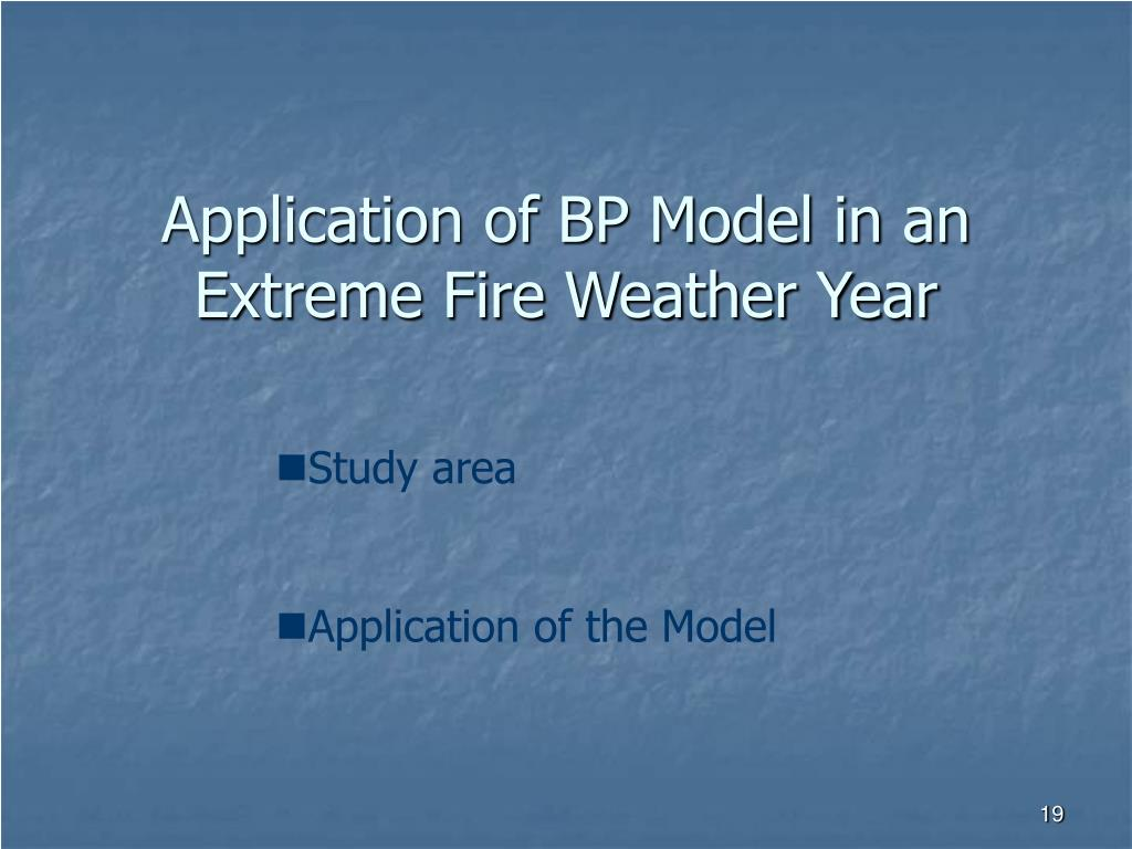 Application of BP Model in an Extreme Fire Weather Year