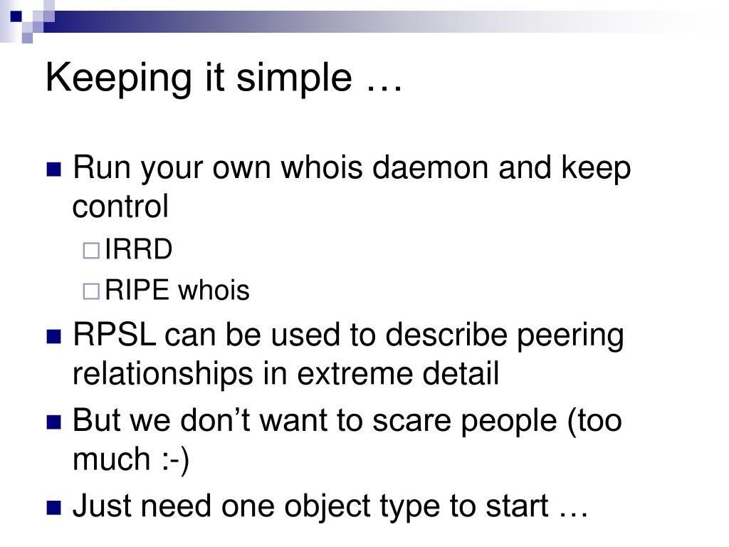 Keeping it simple …