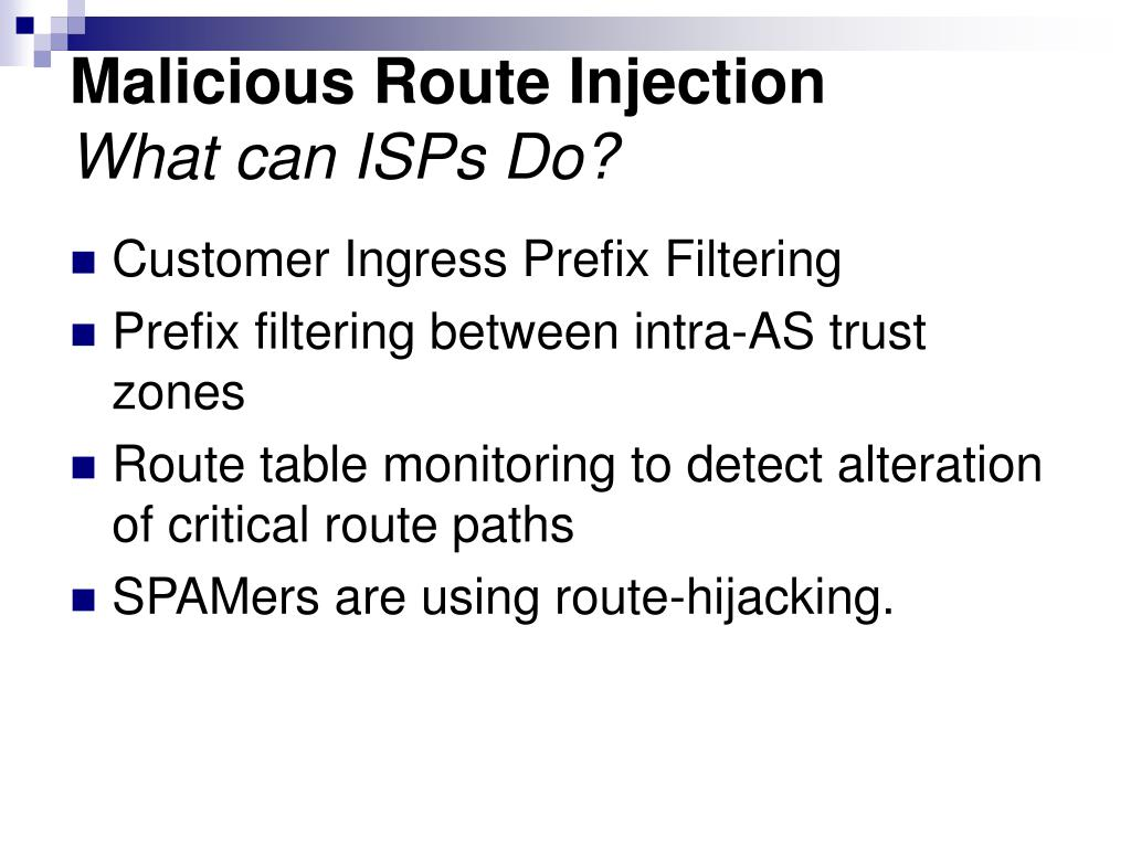 Malicious Route Injection