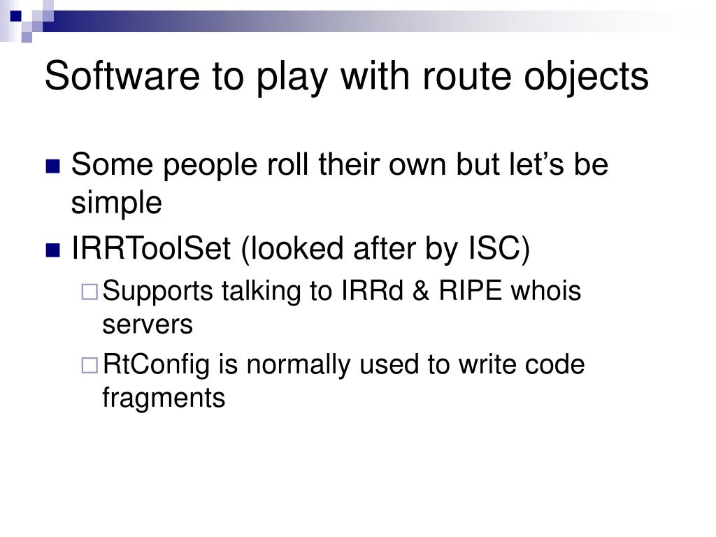 Software to play with route objects