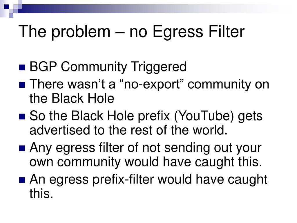 The problem – no Egress Filter