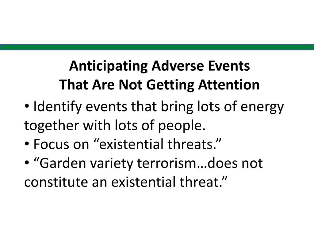 Anticipating Adverse Events