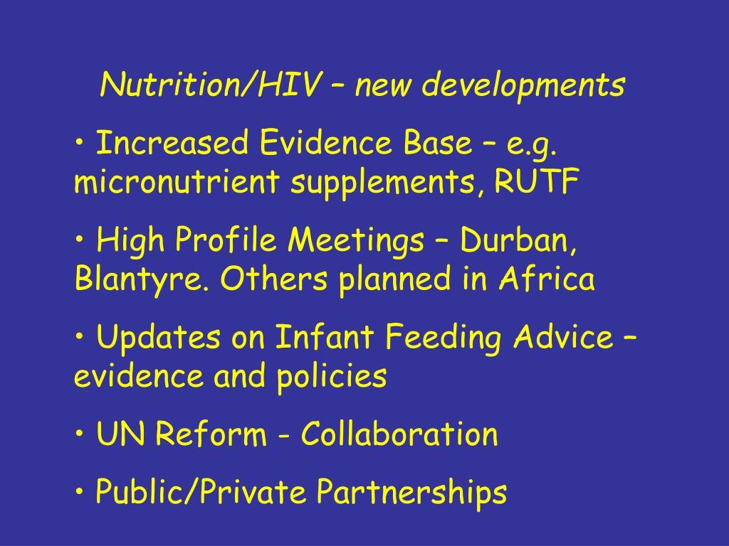 Nutrition/HIV – new developments