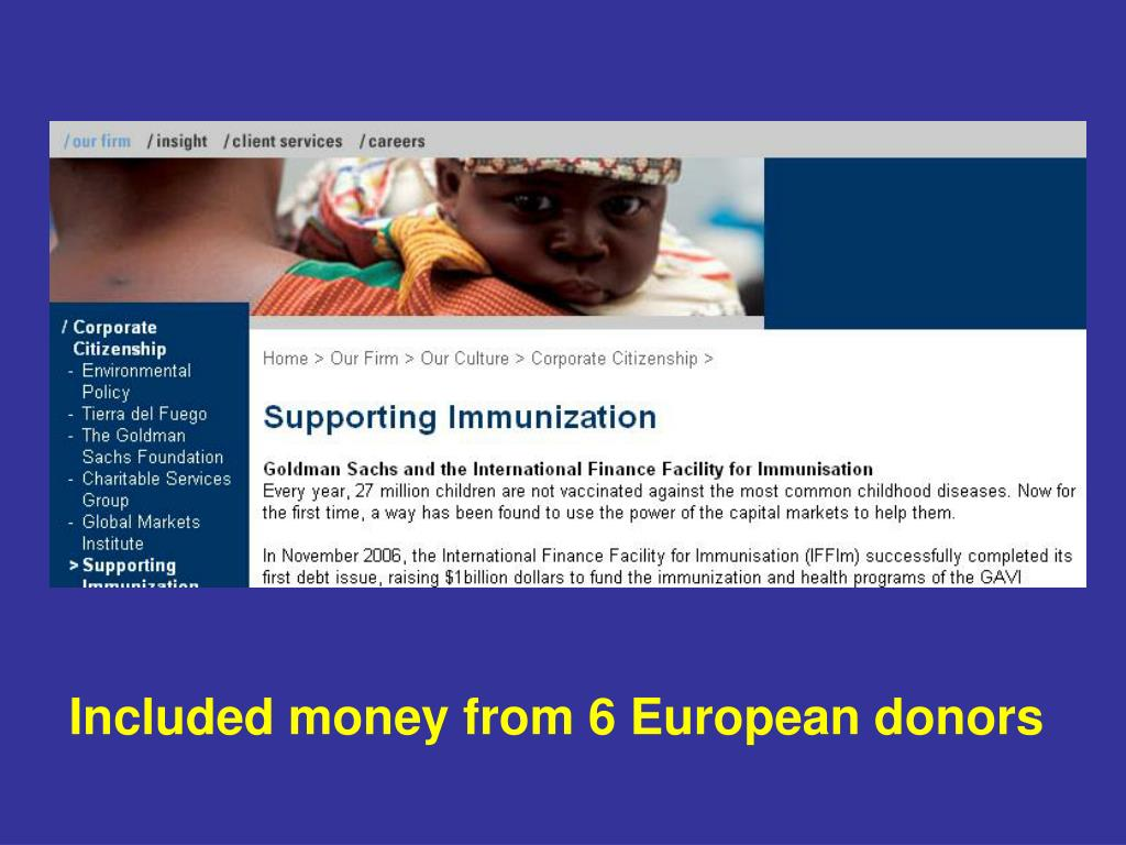 Included money from 6 European donors