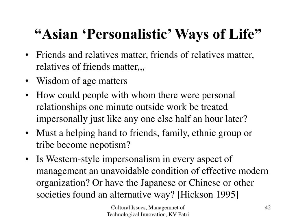 """""""Asian 'Personalistic' Ways of Life"""""""