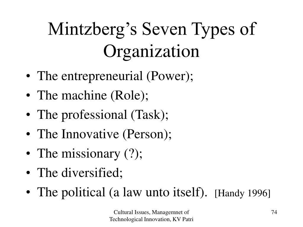 Mintzberg's Seven Types of Organization