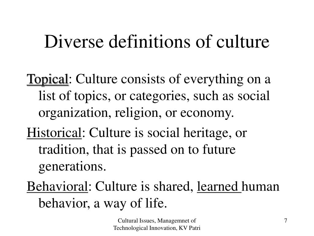 Diverse definitions of culture