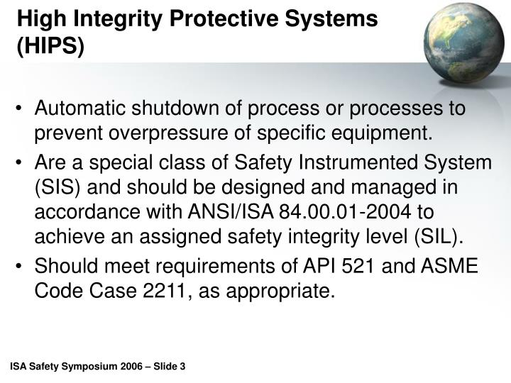 High integrity protective systems hips
