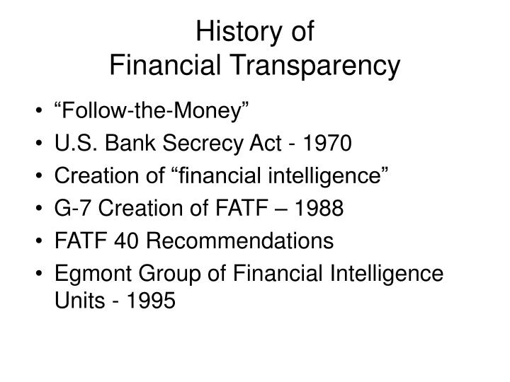 History of financial transparency