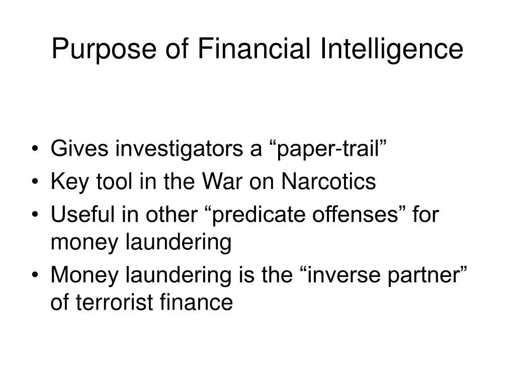 Purpose of Financial Intelligence