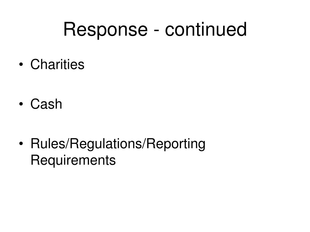 Response - continued