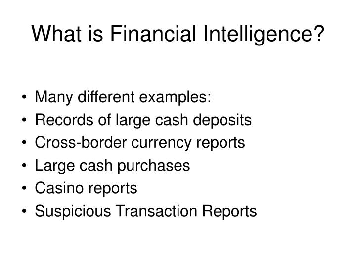 What is financial intelligence