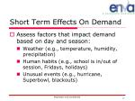 short term effects on demand