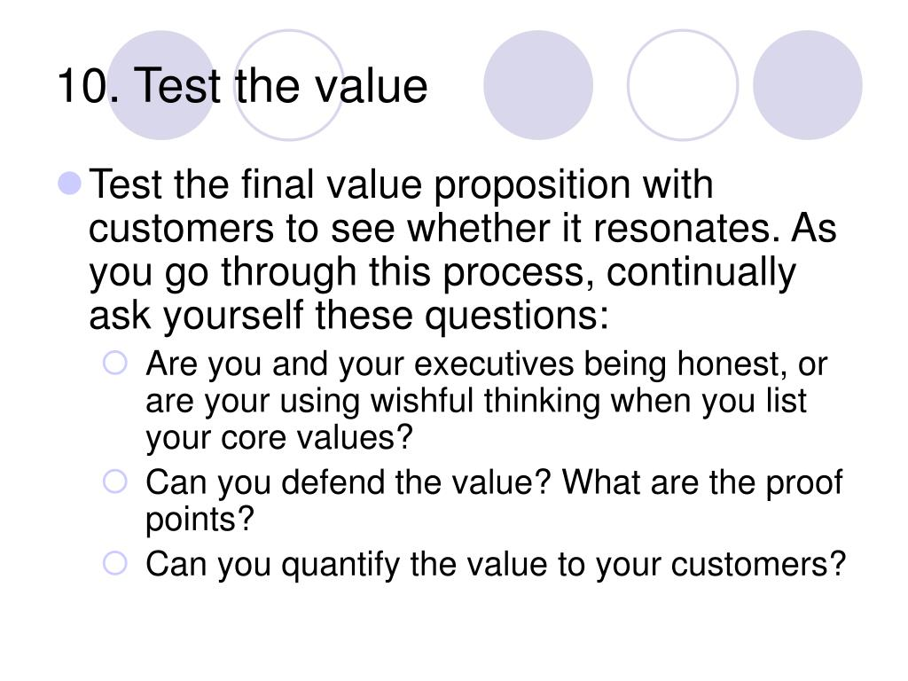 10. Test the value