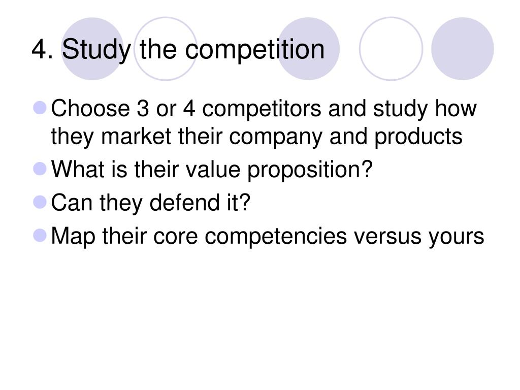 4. Study the competition