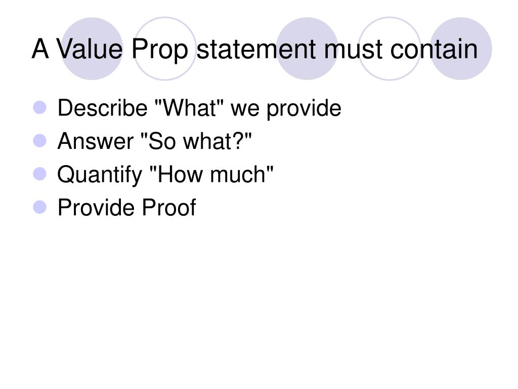 A Value Prop statement must contain