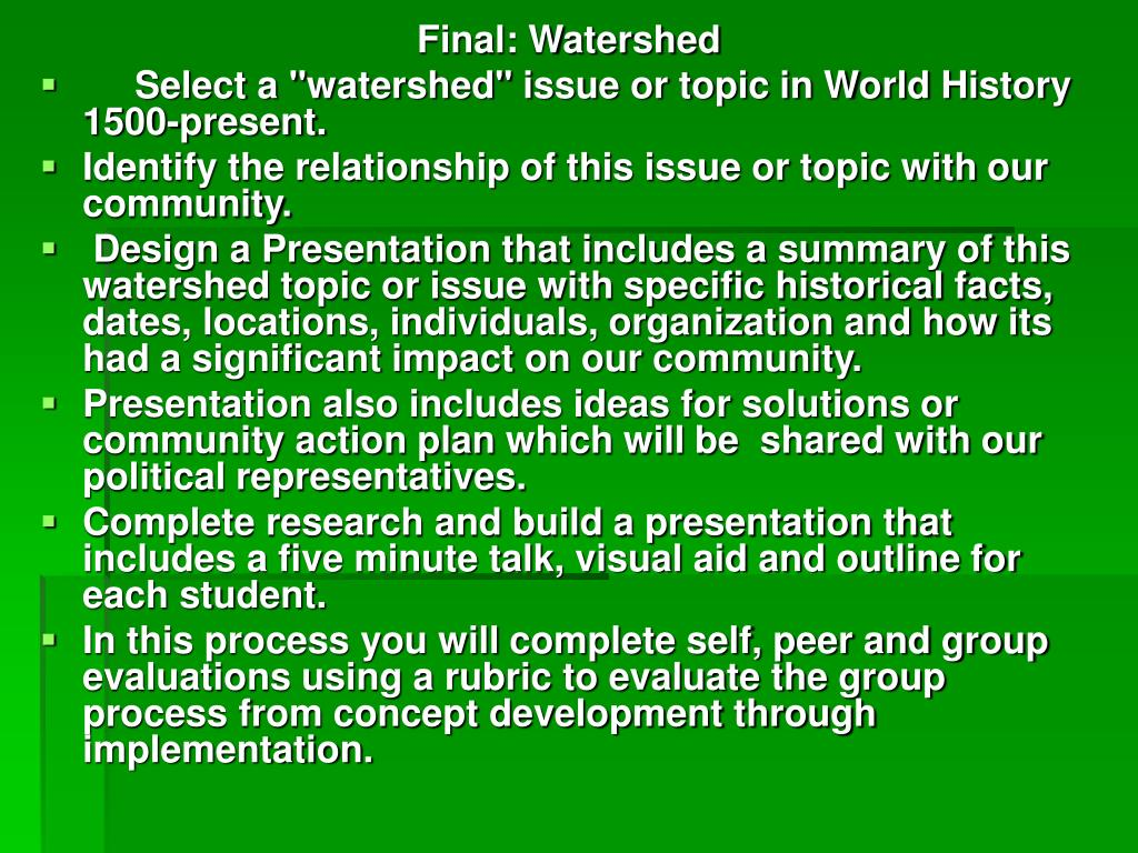 Final: Watershed