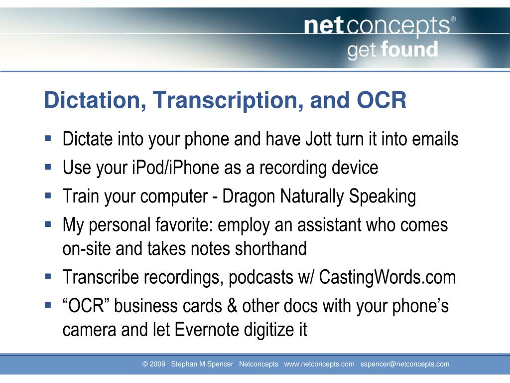 Dictation, Transcription, and OCR