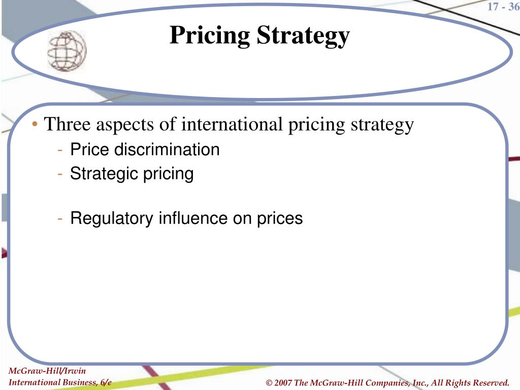 Three aspects of international pricing strategy