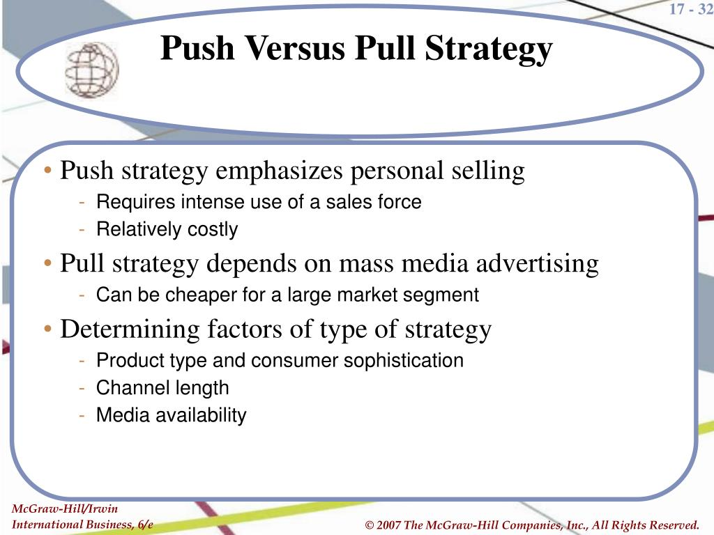 Push strategy emphasizes personal selling