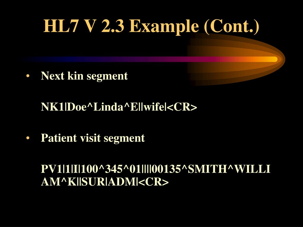 HL7 V 2.3 Example (Cont.)