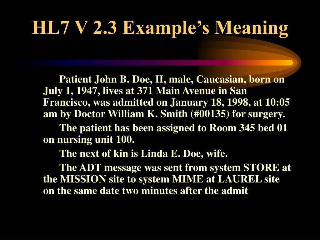 HL7 V 2.3 Example's Meaning