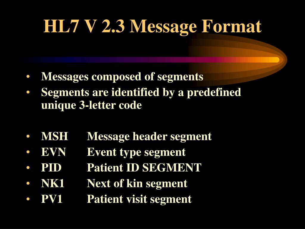 HL7 V 2.3 Message Format