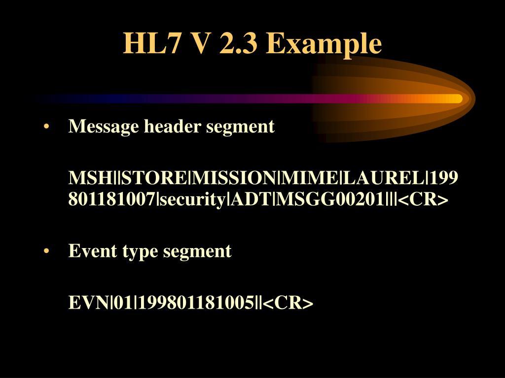HL7 V 2.3 Example