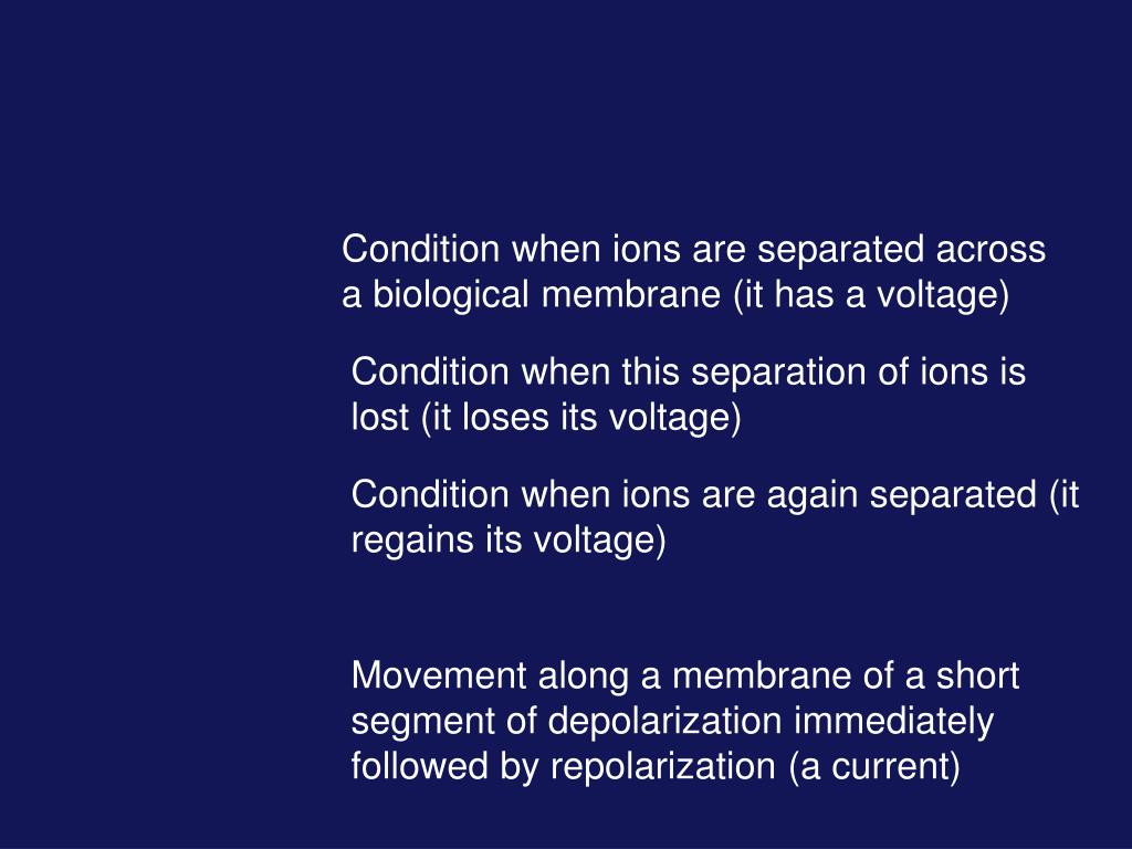 Condition when ions are separated across a biological membrane (it has a voltage)