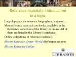 reference materials introduction to a topic