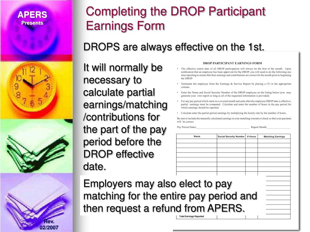 Completing the DROP Participant Earnings Form