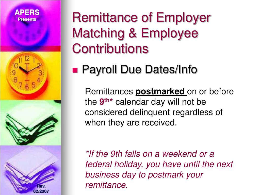 Remittance of Employer Matching & Employee Contributions