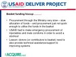 basket funding hiccup