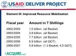 element iii improved resource mobilization