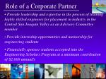 role of a corporate partner