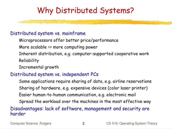 Why distributed systems