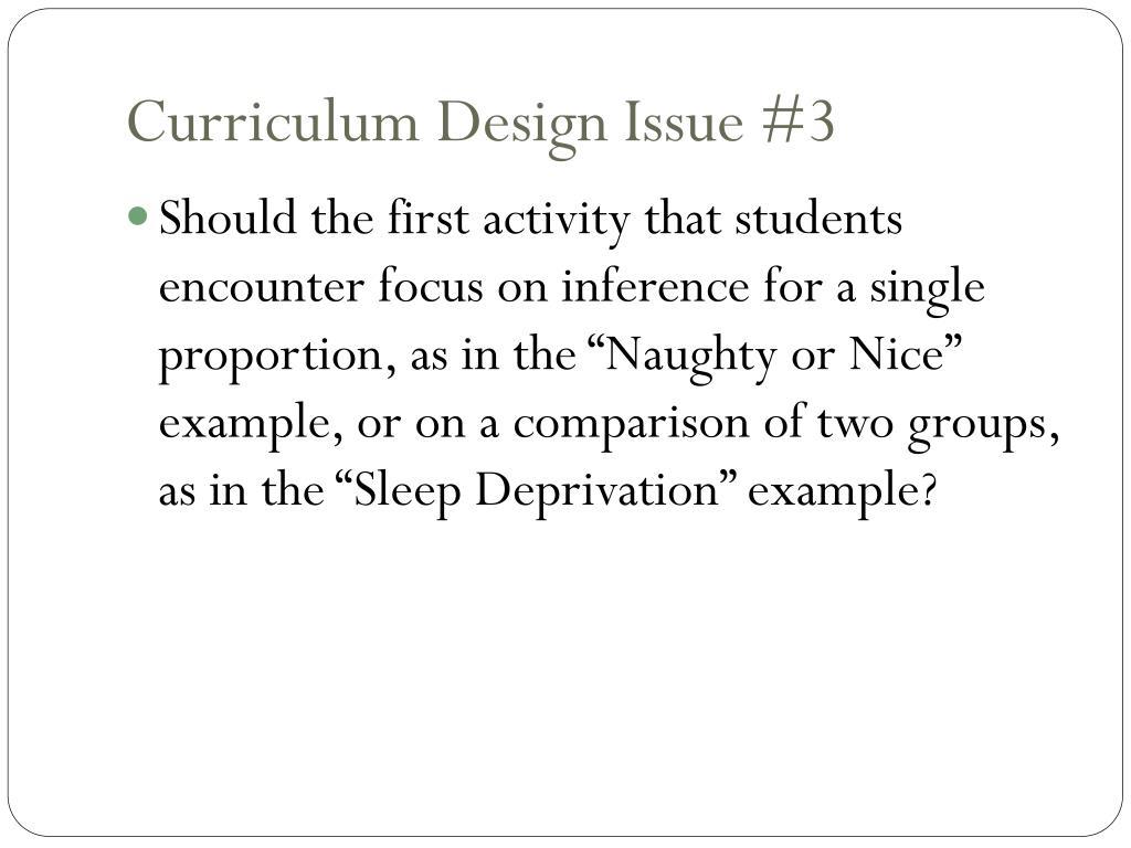 Curriculum Design Issue #3