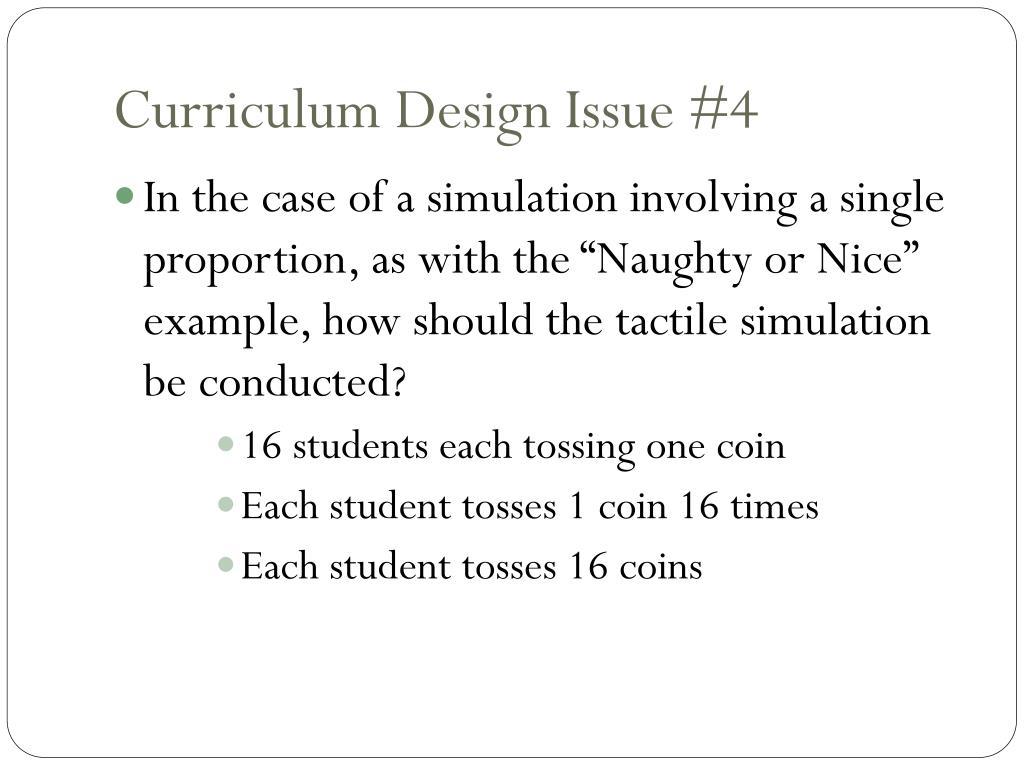 Curriculum Design Issue #4