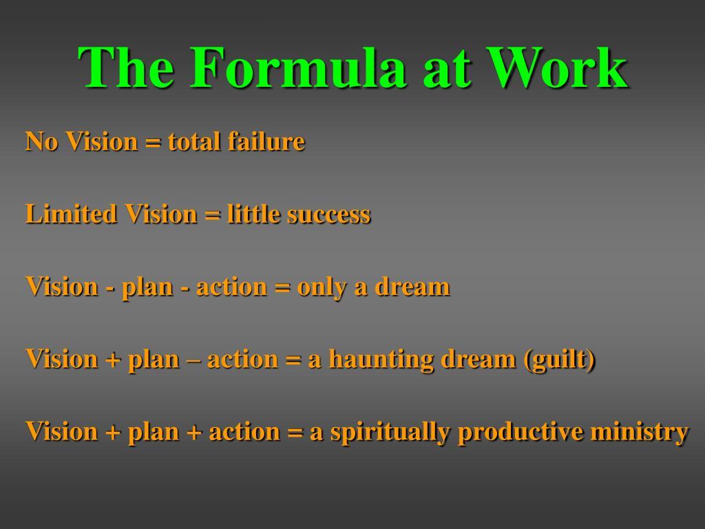 The Formula at Work