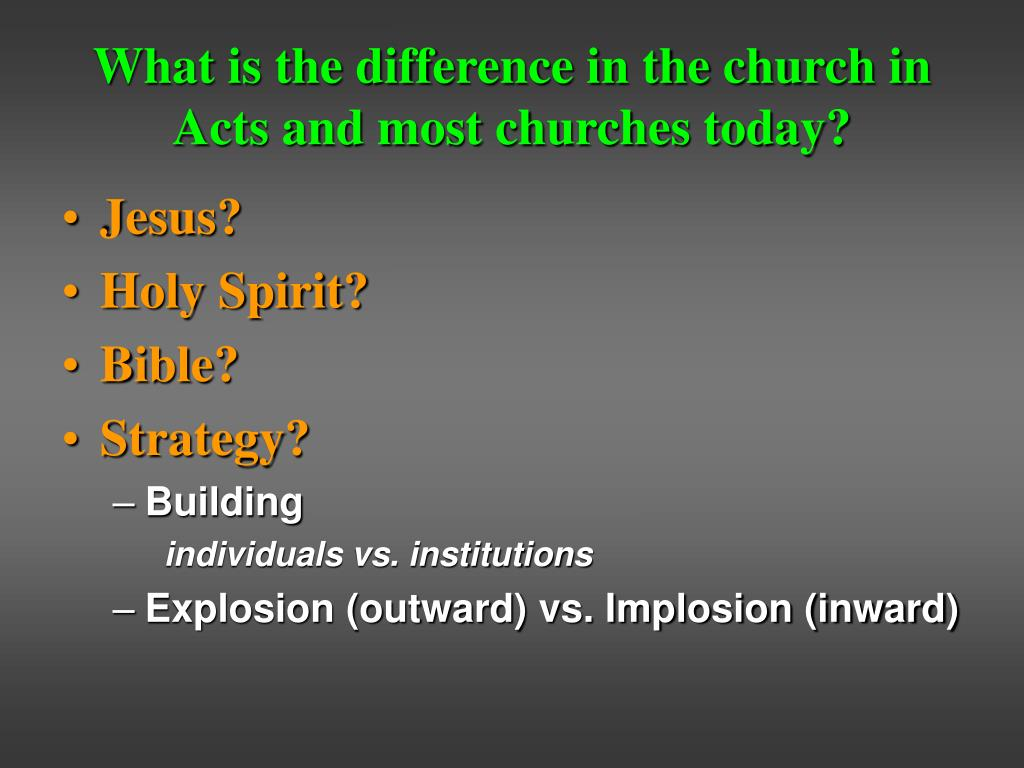 What is the difference in the church in Acts and most churches today?
