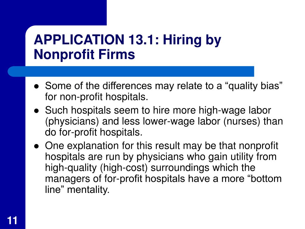 APPLICATION 13.1: Hiring by Nonprofit Firms