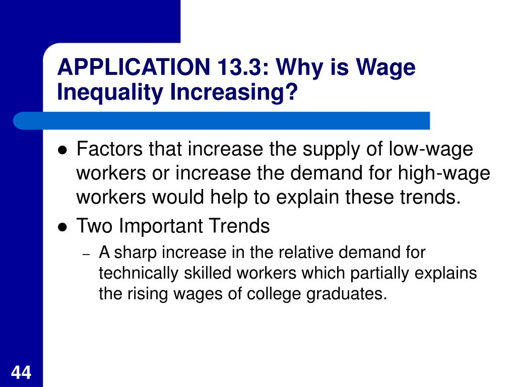 APPLICATION 13.3: Why is Wage Inequality Increasing?