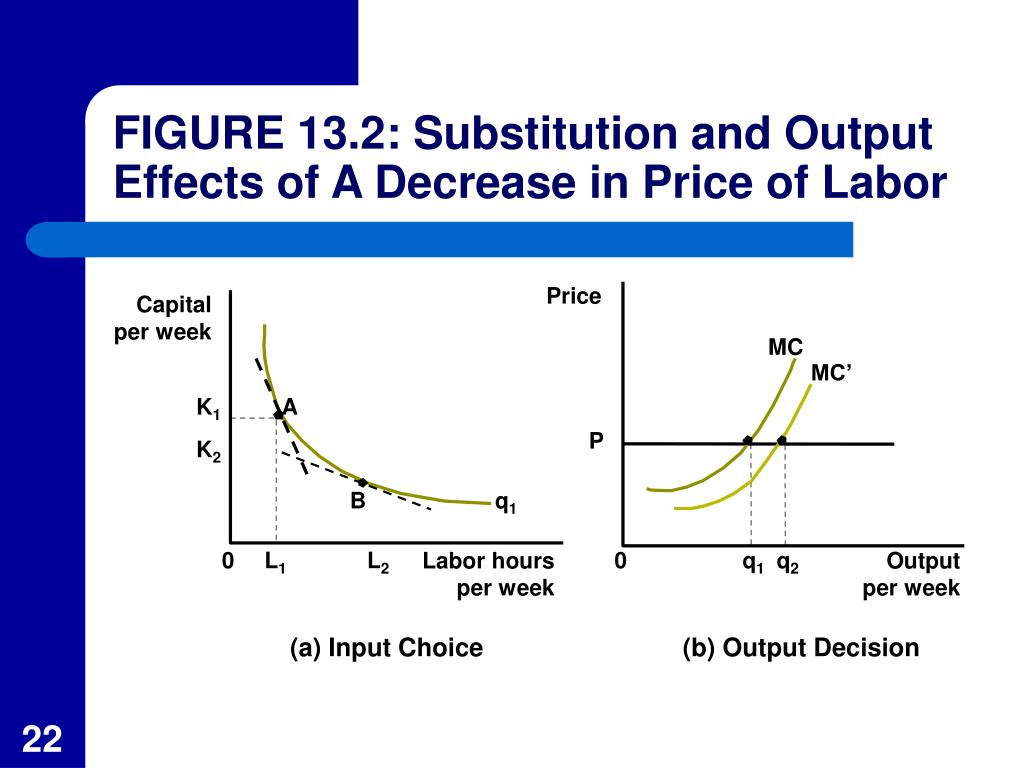 FIGURE 13.2: Substitution and Output Effects of A Decrease in Price of Labor