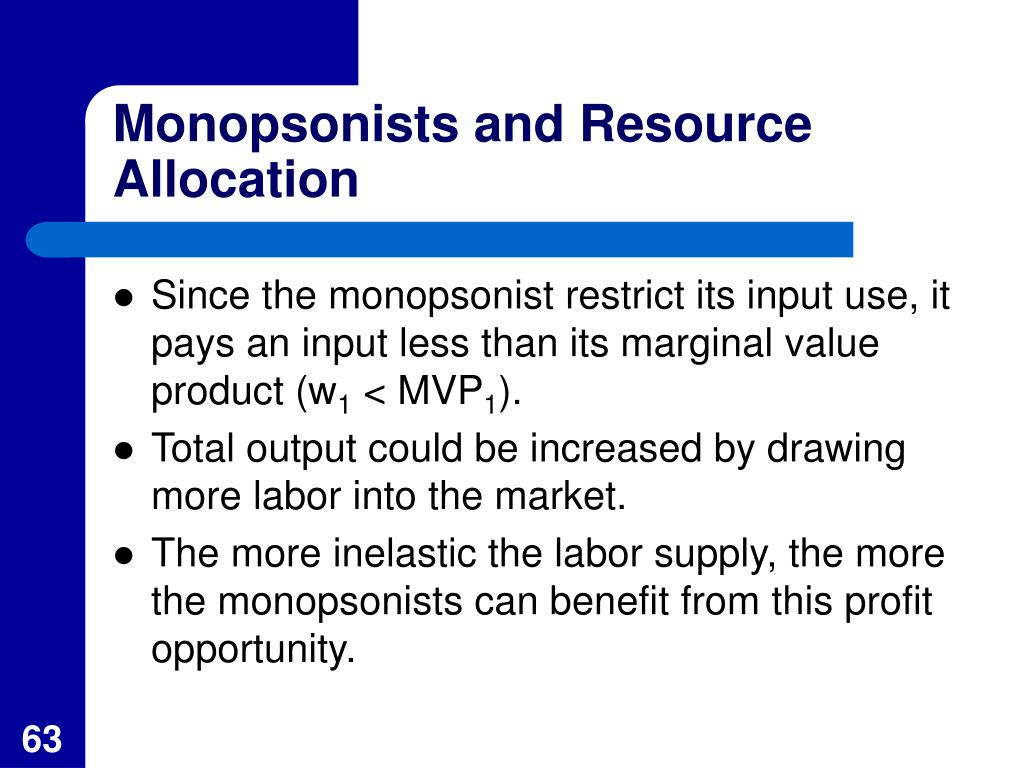Monopsonists and Resource Allocation