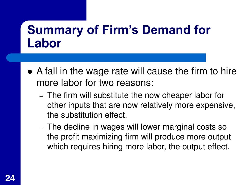 Summary of Firm's Demand for Labor