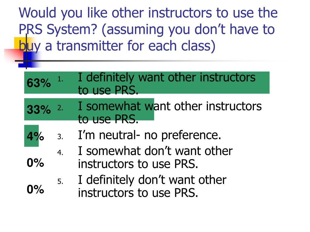 Would you like other instructors to use the PRS System? (assuming you don't have to buy a transmitter for each class)